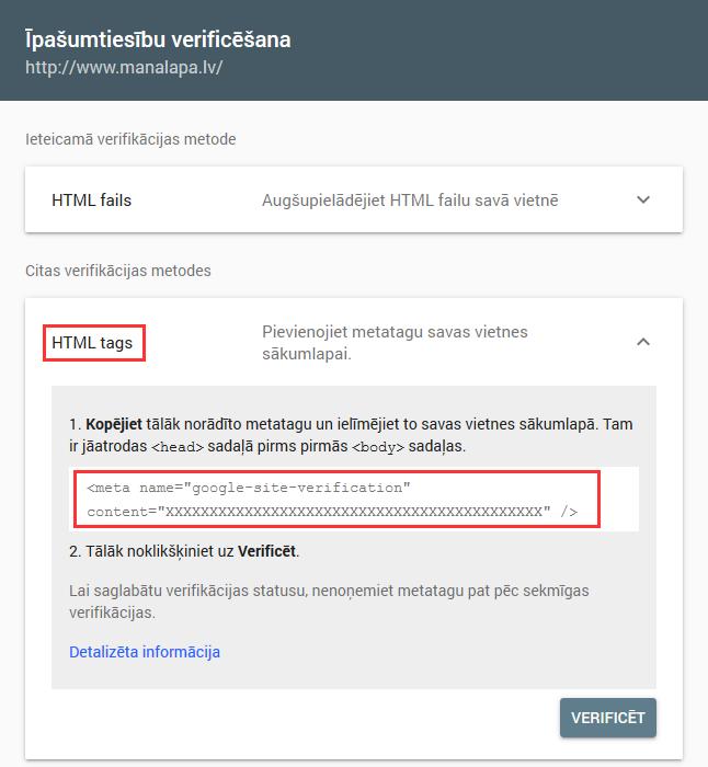 Copy HTML meta tag code