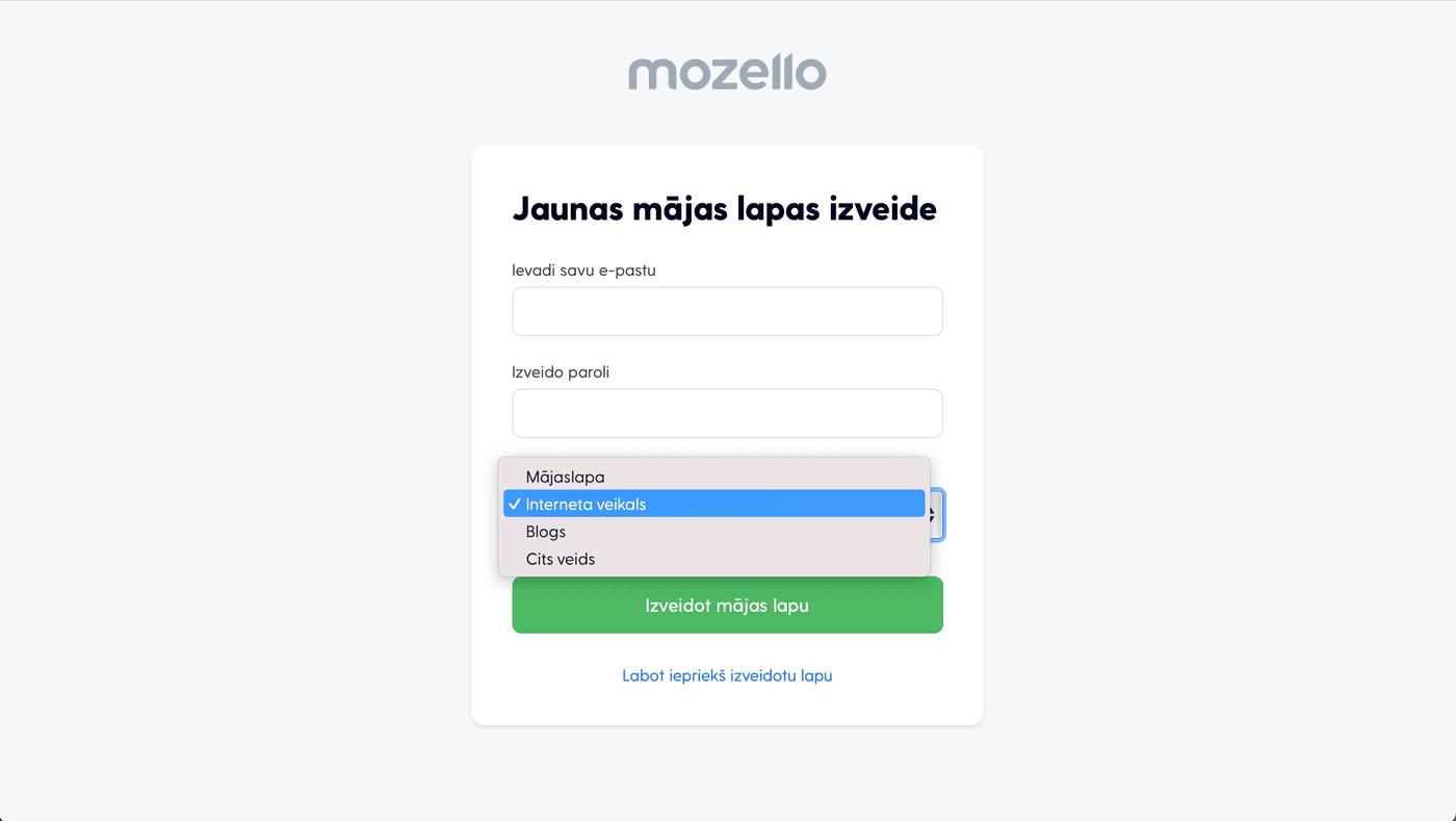 Mozello reģistrācija