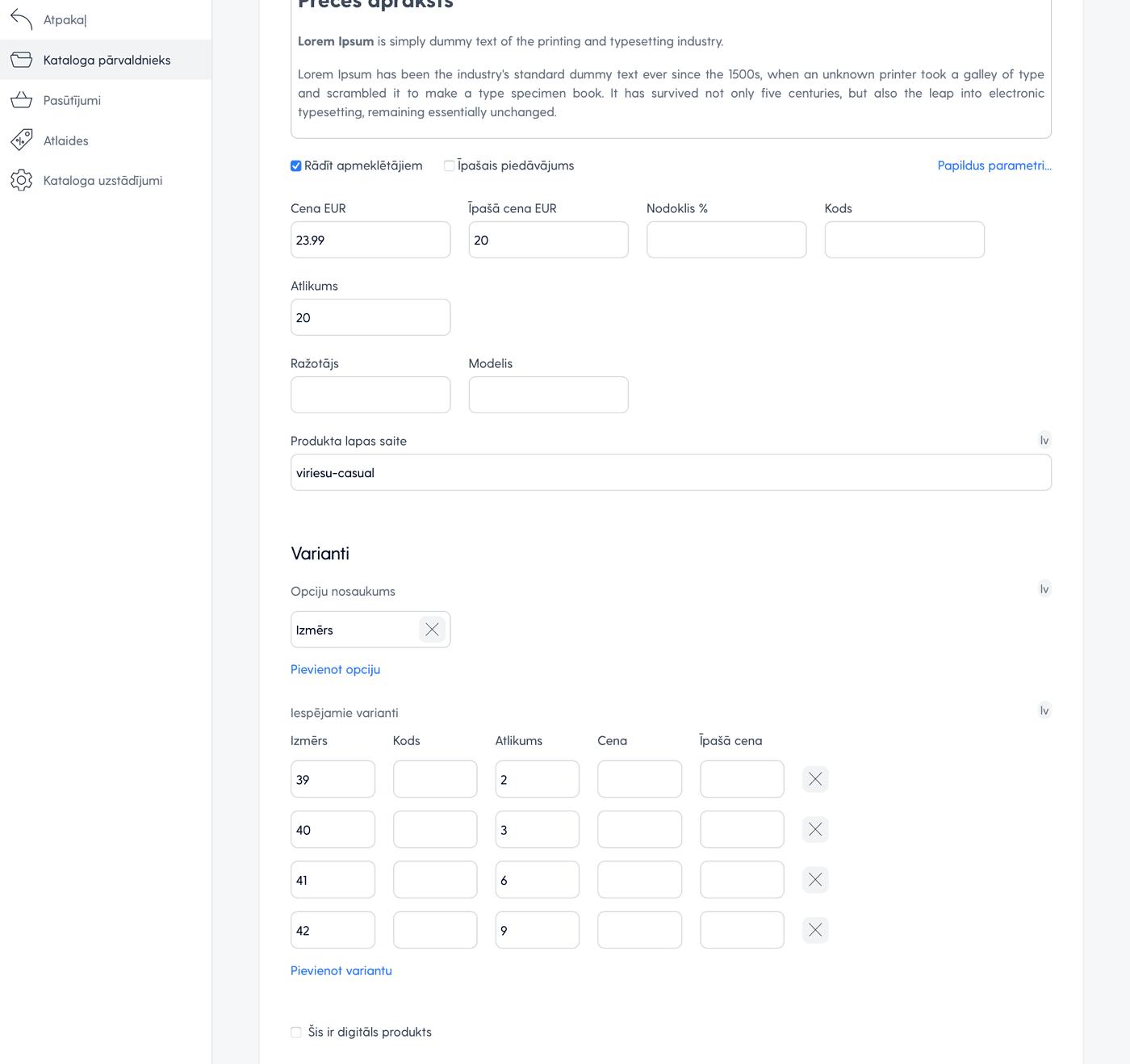 Produkta papildus parametri