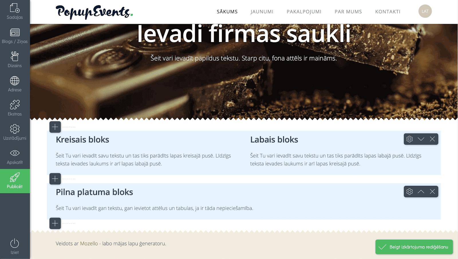 Mājas lapas izkārtojuma pielāgošana