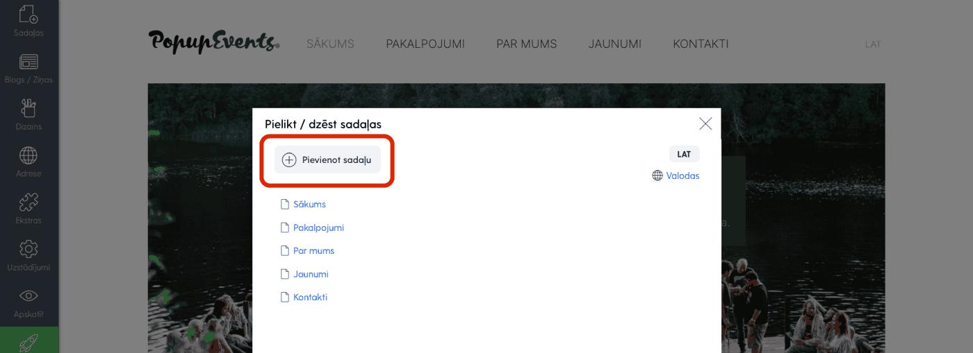 Mājaslapas sadaļu pārlūks